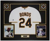 Barry Bonds Autographed & Framed White Pirates Jersey Auto JSA COA