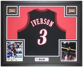 Allen Iverson Autographed & Framed Black 76ers Jersey Auto PSA Cert