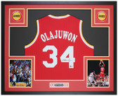 Hakeem Olajuwon Autographed & Framed Red Rockets Jersey Auto Beckett Cert
