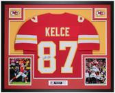 Travis Kelce Autographed & Framed Red Chiefs Jersey Auto Beckett Cert