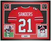 Deion Sanders Autographed & Framed Red Falcons Jersey Auto Beckett COA
