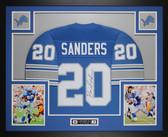 Barry Sanders Autographed & Framed Blue Lions Jersey Auto Schwartz COA