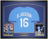 Bo Jackson Autographed and Framed Blue Kansas City Royals Jersey Auto Beckett COA