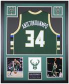 Giannis Antetokounmpo Autographed & Framed Green Bucks Jersey Auto Beckett Cert