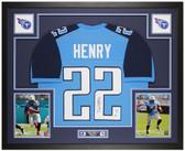 Derrick Henry Autographed and Framed Blue Titans Jersey Auto Beckett COA