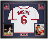 Stan Musial Autographed & Framed White Cardinals Jersey Auto PSA COA