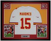 Patrick Mahomes Autographed & Framed White Kansas City Chiefs Jersey Auto Fanatics COA