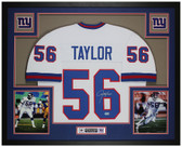 Lawrence Taylor Autographed & Framed White Giants Jersey Auto Beckett COA