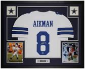 Troy Aikman Autographed & Framed White Cowboys Jersey Auto Beckett COA