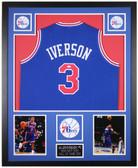 Allen Iverson Autographed & Framed Blue 76ers Jersey Auto JSA COA