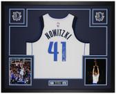 Dirk Nowitzki Autographed & Framed White Dallas Mavericks Jersey Auto Fanatics COA