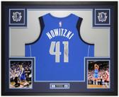 Dirk Nowitzki Autographed and Framed Blue Dallas Mavericks Jersey Auto Fanatics COA