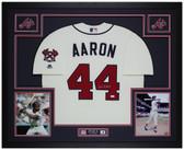Hank Aaron Autographed and Framed Cream Atlanta Braves Jersey Auto JSA Cert