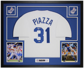 Mike Piazza Autographed & Framed White Dodgers Jersey Auto Beckett Cert