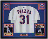 Mike Piazza Autographed & Framed Pinstriped New York Mets Jersey Auto PSA Cert