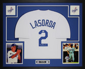 Tommy Lasorda Autographed & Framed White Dodgers Jersey Auto JSA Cert