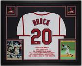 Lou Brock Autographed & Framed White St Louis Cardinals Jersey Auto JSA COA