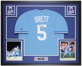 George Brett Autographed & Framed Blue Blue Jersey Auto Beckett Cert