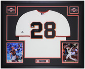 Buster Posey Autographed and Framed Cream Giants Jersey Auto Beckett COA