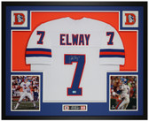 John Elway Autographed and Framed White Broncos Jersey Auto Beckett COA