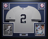 Derek Jeter Autographed and Framed Gray New York Yankees Jersey Auto Steiner Certfied