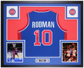 Dennis Rodman Autographed & Framed Blue Pistons Jersey JSA COA