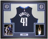 Dirk Nowitzki Autographed and Framed Blue Dallas Mavericks Jersey Fanatics Cert
