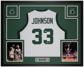 Magic Johnson Autographed & Framed White Spartans Jersey Beckett COA