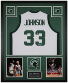 Magic Johnson Autographed and Framed White Spartans Jersey Beckett COA