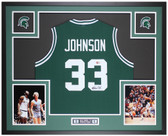 Magic Johnson Autographed and Framed Green Spartans Jersey Beckett COA