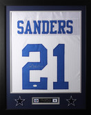 Deion Sanders Framed and Autographed White Dallas Cowboys Jersey Auto JSA Certified