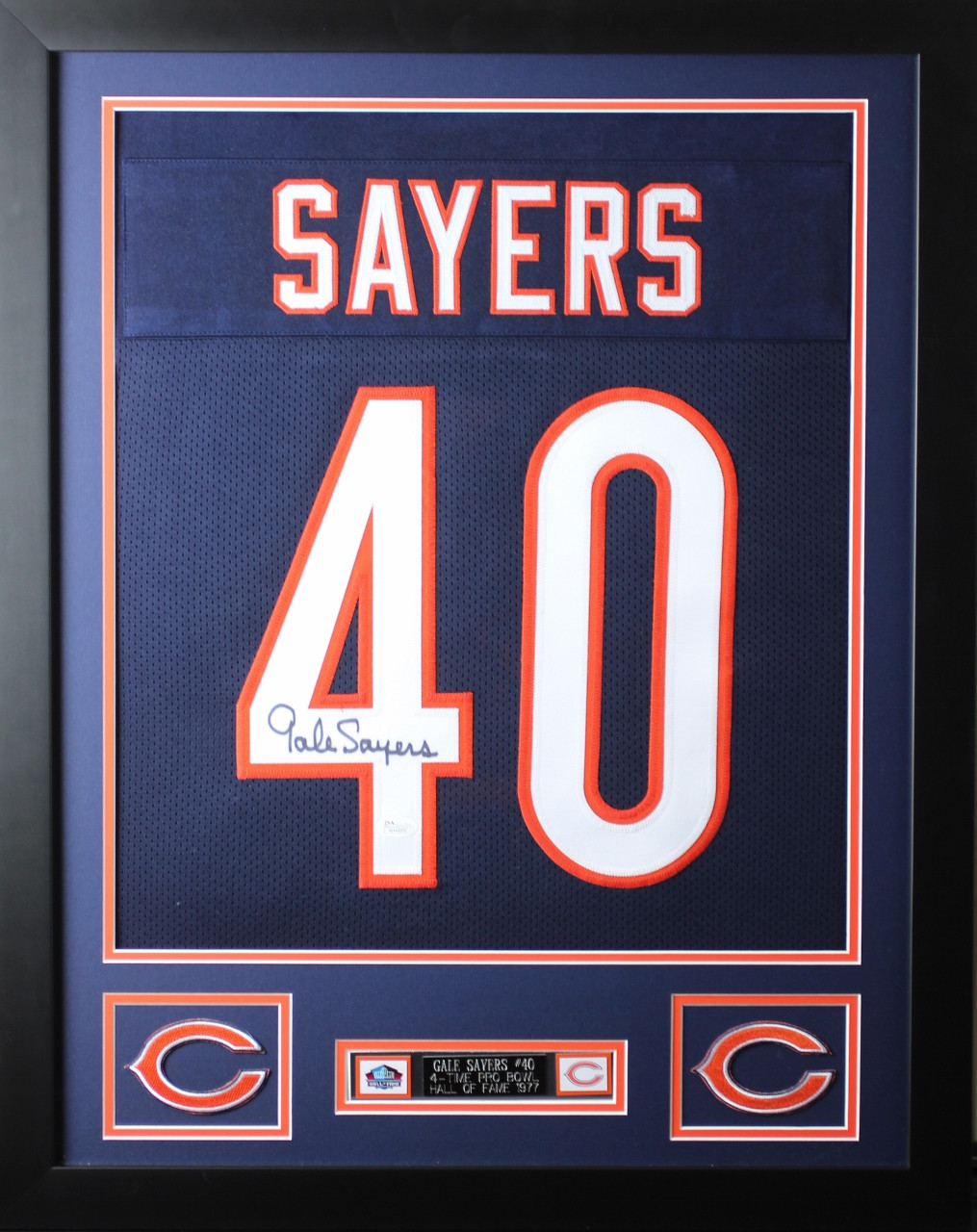 b9138307a Gale Sayers Framed and Autographed Navy Bears Jersey Auto JSA Certified.  Loading zoom