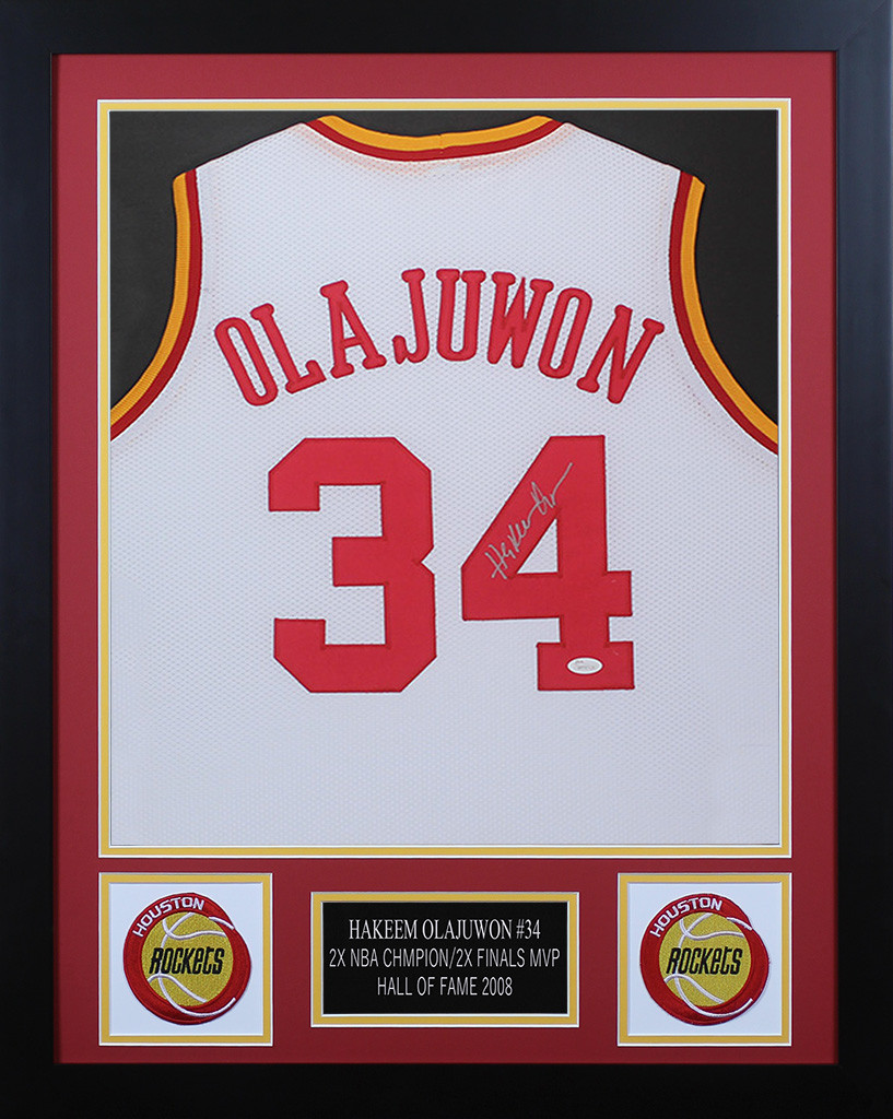 free shipping d2b1a be139 Hakeem Olajuwon Framed and Autographed White Rockets Jersey ...