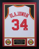 Hakeem Olajuwon Framed and Autographed White Houston Rockets Jersey JSA Certified