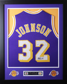Magic Johnson Framed and Autographed Purple Lakers Jersey PSA Certified
