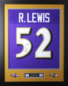 Ray Lewis Framed and Autographed Purple Baltimore Ravens Jersey JSA Certified