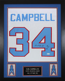 Earl Campbell Framed and Autographed White Houston Oilers Jersey Auto JSA Certified