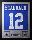 Roger Staubach Framed and Autographed Blue Dallas Cowboys Jersey Auto JSA Certified