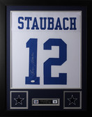 Roger Staubach Framed and Autographed White Dallas Cowboys Jersey JSA Certified