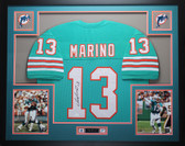 Dan Marino Autographed and Framed Teal Miami Dolphins Jersey Auto JSA Certified