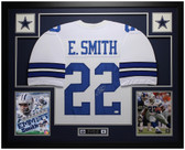 Emmitt Smith Autographed and Framed White Dallas Cowboys Jersey Auto JSA Certified