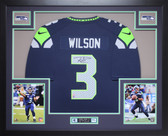 Russell Wilson Autographed and Framed Blue Seattle Seahawks Jersey Auto Wilson COA