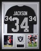 Bo Jackson Autographed & Framed Black Raiders Jersey Auto JSA Certified