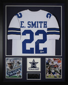 Emmitt Smith Autographed & Framed White Dallas Cowboys Jersey Auto PSA Certified