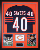 Gale Sayers Autographed HOF 77 and Framed Navy Chicago Bears Jersey JSA Certified