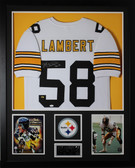 Jack Lambert Autographed HOF 90 and Framed White Pittsburgh Steelers Jersey JSA Certified