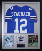 Roger Staubach Autographed and Framed Blue Dallas Cowboys Jersey JSA Certified
