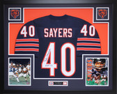 Gale Sayers Autographed HOF 77 and Framed Navy Bears Jersey Auto JSA Certified