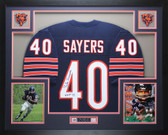 Gale Sayers Autographed HOF 77 and Framed Navy Chicago Bears Jersey Auto JSA Certified