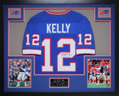 Jim Kelly Autographed and Framed Blue Buffalo Bills Jersey Auto JSA Certified